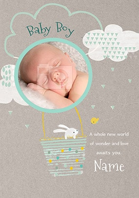 Baby Boy New World Of Wonder Photo Card