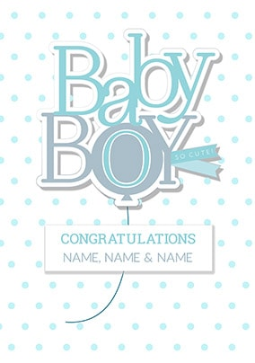 Baby Boy - Congratulations Personalised Card