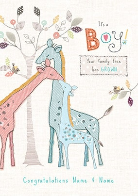 Family Tree - New Boy Personalised Card