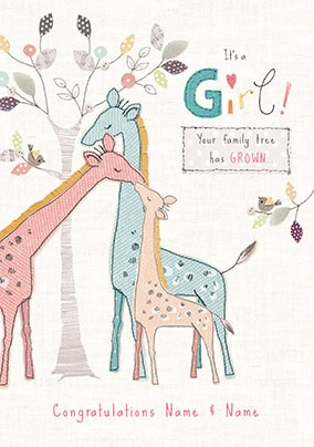 Family Tree - New Girl Personalised Card