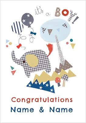 It's A Boy! Congratulations Personalised Card