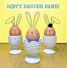 Happy Easter Egg Cups Personalised Card