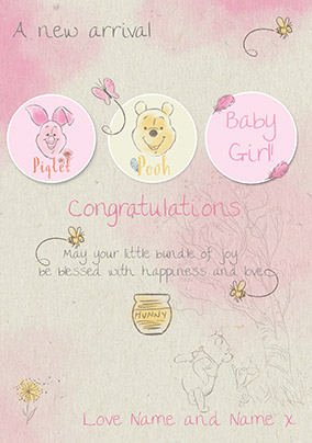 Disney Winnie the Pooh New Baby Card - Baby Girl