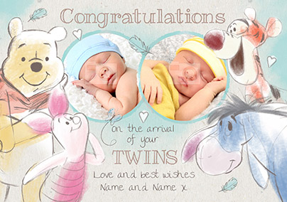 Disney Winnie the Pooh New Baby Card - Arrival of Your Twins