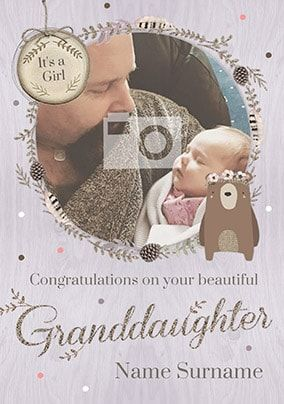 Beautiful Granddaughter New Baby Card - Winter Wonderland