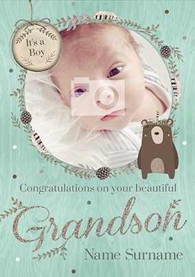 Beautiful Grandson New Baby Card - Winter Wonderland