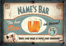 Beer bar sign poster. Personalise with any name!