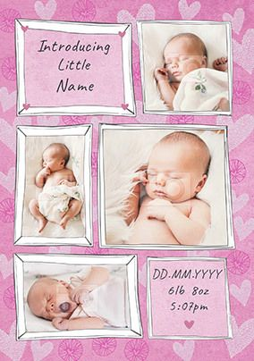 Introducing Baby Girl Photo Card