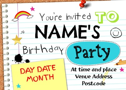 Neon Sketch Birthday Party Postcard