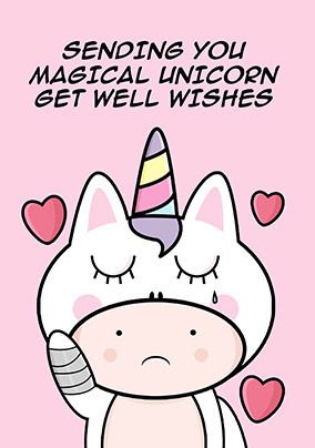 Magical Unicorn Well Wishes Personalised Postcard