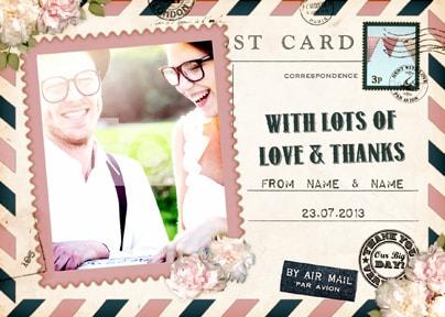 Par Avion Wedding Thank You Postcard