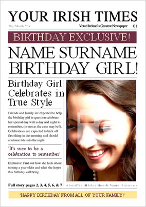 Irish Times - Birthday Girl