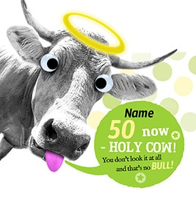 Holy Cow 50th Birthday Personalised Card - Punny farm