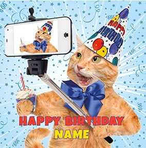Cat Selfie Birthday Card