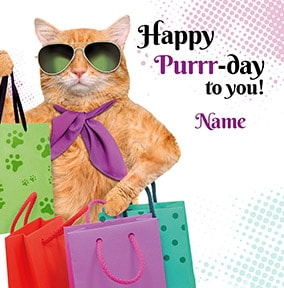Happy Purrr Day Birthday Card