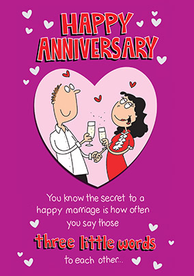 Secret To A Happy Marriage Anniversary Card Funky Pigeon