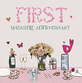 Cupcake & Wellies Wedding Anniversary Card - First
