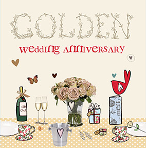 Cupcake & Wellies 50th Wedding Anniversary Card - Golden