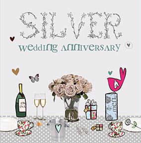 Cupcake Wellies Silver Wedding Anniversary Card