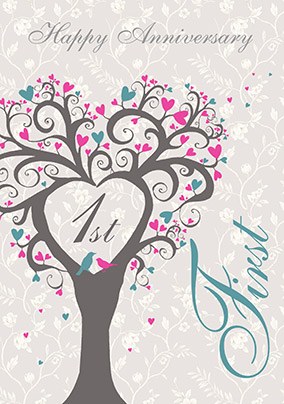 First wedding anniversary card lovetree funky pigeon first wedding anniversary card lovetree m4hsunfo