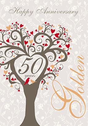 Golden Wedding Anniversary.Golden 50th Wedding Anniversary Cards Funky Pigeon