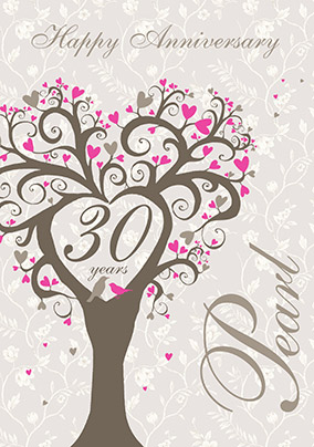 30th Pearl Wedding Anniversary Cards Funky Pigeon