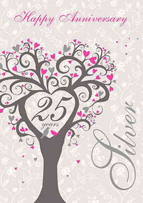 Silver wedding anniversary card tree of love funky pigeon silver wedding anniversary card tree of love m4hsunfo