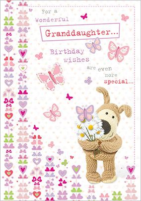 Dog and Butterflies Granddaughter Birthday Card