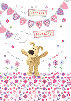 Cute Dog Special Sister Birthday Card