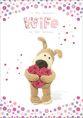 Dog and Roses Gorgeous Wife Birthday Card