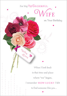 Bouquet of Roses Wife Birthday Card