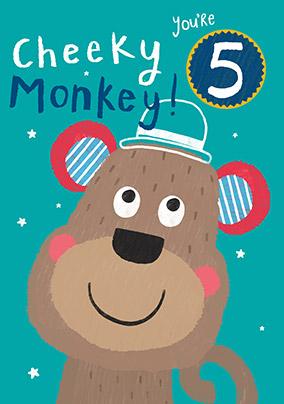 Cheeky Monkey 5th Birthday Card