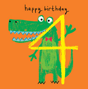 Kids Crocodile 4th Birthday Card