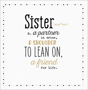 A Partner In Crime Sister Birthday Card