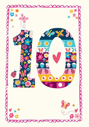 Colourful Big 10 Birthday Card