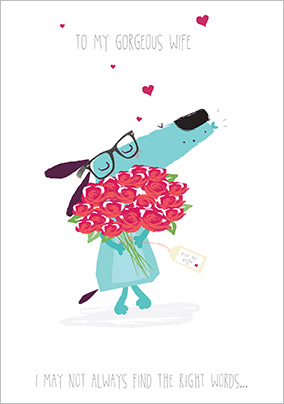 Dog with Roses Gorgeous Wife Birthday Card