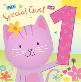 1st Birthday Card Special Girl - Cat