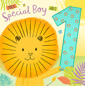 1st Birthday Card Special Boy - Lion
