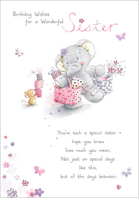 Elephant Birthday Wishes Sister Card