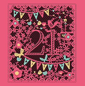 Bunting and Flowers 21st Birthday Card