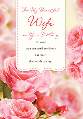 Pink Roses Beautiful Wife Birthday Card
