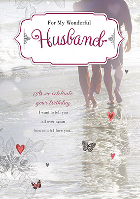 Shallow Sea Stroll Husband Birthday Card YES Preview Image Is Not Found