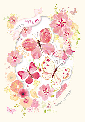 Butterflies for You Mum Birthday Card