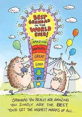 Hedgehogs Best Grandad Birthday Card