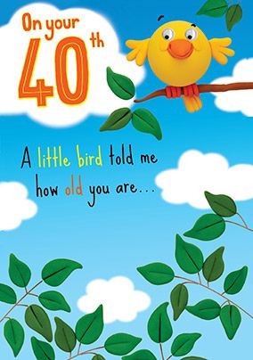 A Little Bird told me 40th Birthday Card