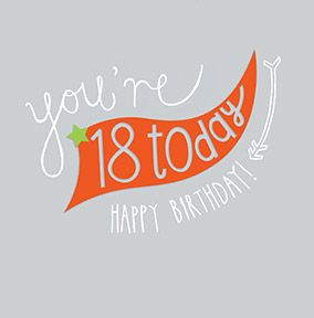 18 Today Banner Birthday Card
