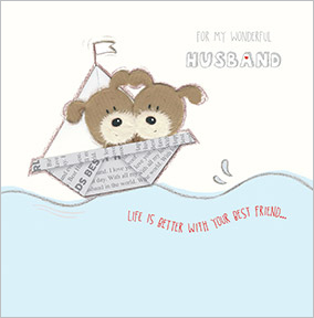Cute Dogs In A Boat Husband Birthday Card