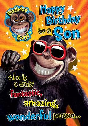 Crazy Chimp Son Birthday Card