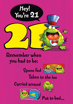 21st Birthday Card - Padded Cell Frog