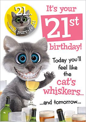 21st Birthday Card - Cat's Whiskers